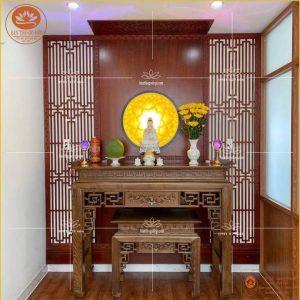 Bàn thờ gỗ đẹp tự nhiên cao cấp BT08- Mẫu bàn thờ triện sen