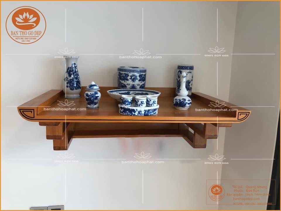 Mẫu bàn thờ gỗ mít đẹp được nhiều căn hộ chung cư sử dụng