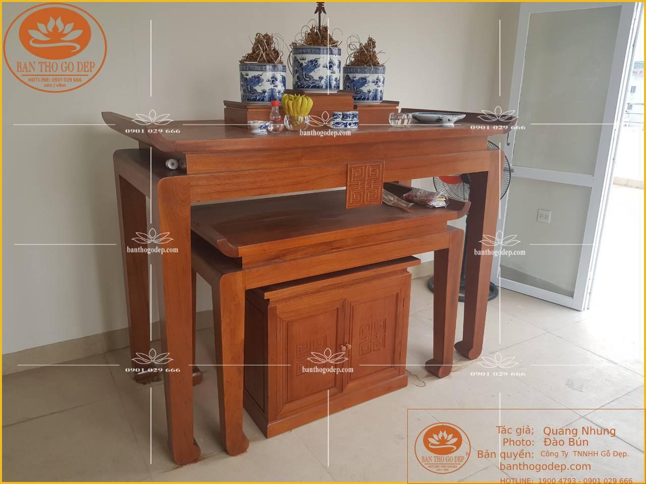 Bàn thờ làm từ gỗ sồi nguyên tấm, chống mối mọt