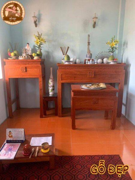 Mẫu bàn thờ bt 35 làm từ chất liệu gỗ hương đá với thiết kế theo yêu cầu gia chủ, làm thiết kế nhẹ nhàng hơn, đơn giản hơn nữa, với 2 mẫu bàn thờ phật và gia tiên thi công và lắp đặt cho khách hàng ở phường quận 6 thành phố hồ chí minh