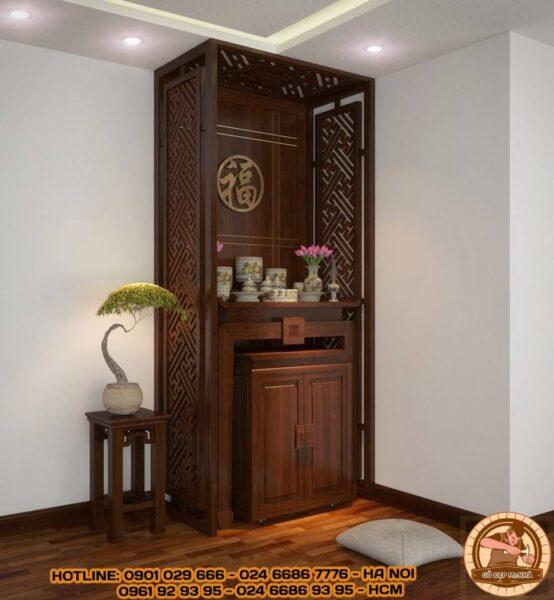 Mặt bàn thờ và tủ cơm kết hợp kèm vách ngăn