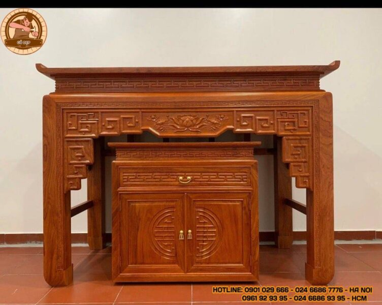Bàn thờ gỗ Hương Đá BT21 thi công cho anh Ninh Cầu Giấy- Hà Nội