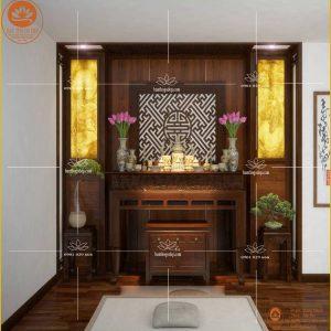 Bàn thờ gỗ gụ hiện đại BT16G – Tủ thờ gỗ gụ đẹp kết hợp tranh trúc chỉ