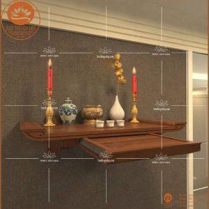 Kệ thờ gỗ treo tường TT17S – Bàn thờ có ngăn kéo