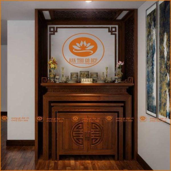 Án gian thờ gỗ gõ đỏ chất lượng nhất cho năm mới dồi dào tài lộc