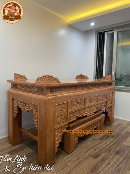 Mẫu bàn thờ gỗ hương cho nhà chung cư luôn mang màu sắc