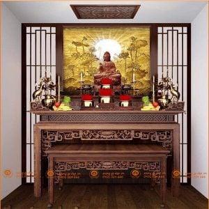 Bàn thờ Phật và gia tiên BT66G – Bàn thờ tam cấp đẹp gỗ gụ