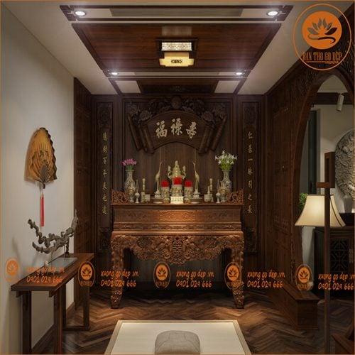 Mẫu bàn thờ gia tiên đẹp giúp gia chủ may mắn phát tài phát lộc