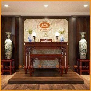 Bàn thờ gỗ hương hiện đại BT03H – Mẫu án gian thờ hiện đại