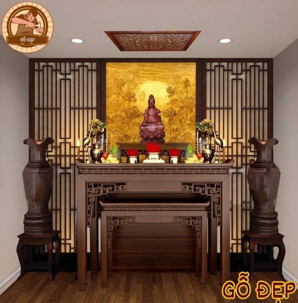 Màu sắc phù hợp cho không gian thờ cúng là gam màu trầm, ấm