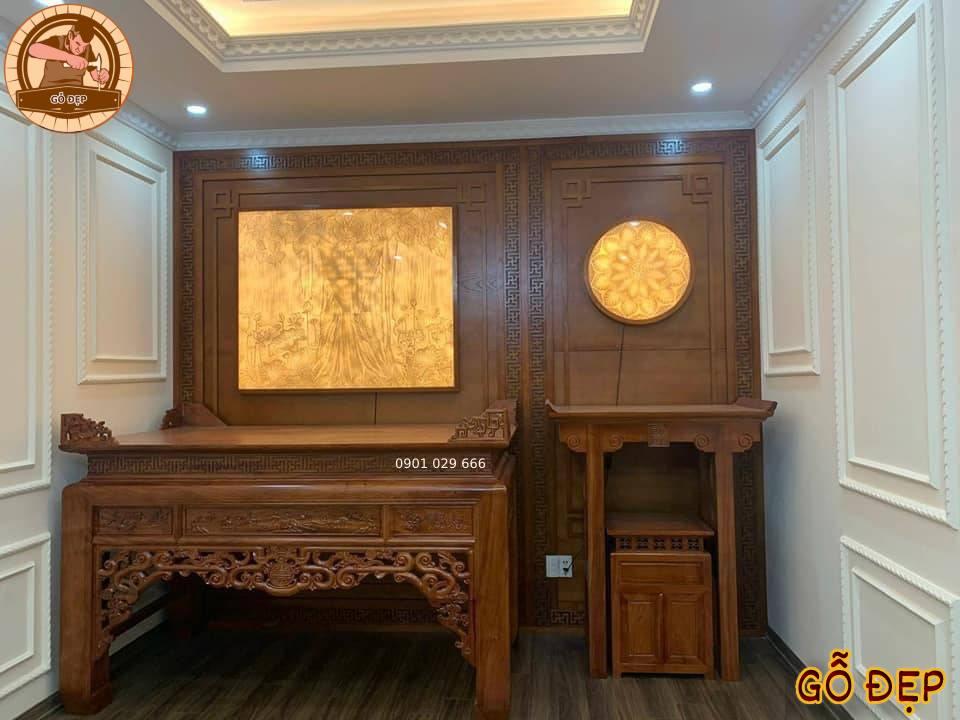 Bàn thờ gỗ gõ đỏ là lựa chọn hoàn hảo cho nhà chung cư