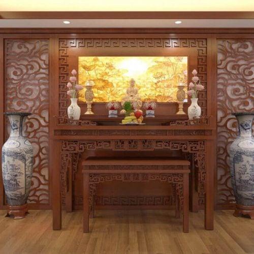 Án gian thờ gỗ hương đỏ- Vật phẩm thờ cúng linh thiêng bậc nhất