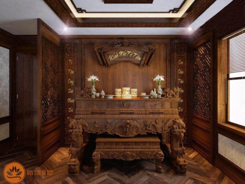 Bàn thờ sập thờ truyền thống mang nhiều tính nghệ thuật