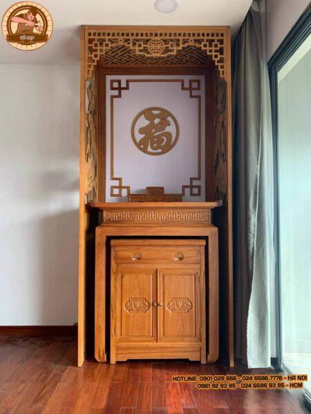 Mẫu bàn thờ hiện đại BT 1319 là mẫu bàn thờ chung cư được làm từ gỗ mít hợp phong thủy, tối ưu diện tích, tính thẩm mỹ cao cho phòng thờ nhưng không hề giảm đi phần trang nghiêm
