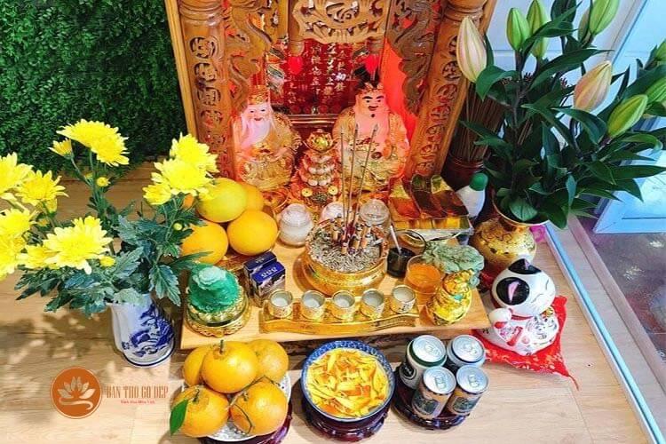 Những vật phẩm trên bàn thờ ông địa
