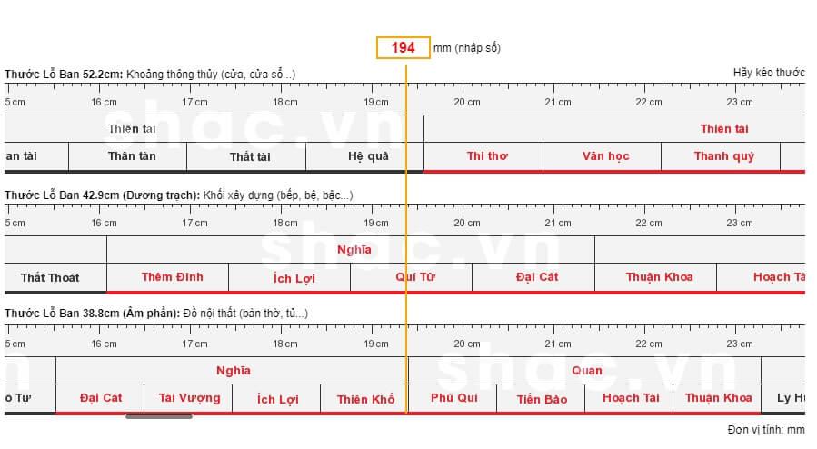 Thước Lỗ Ban 52cm với chiều dài 52cm, gồm 8 cung lớn