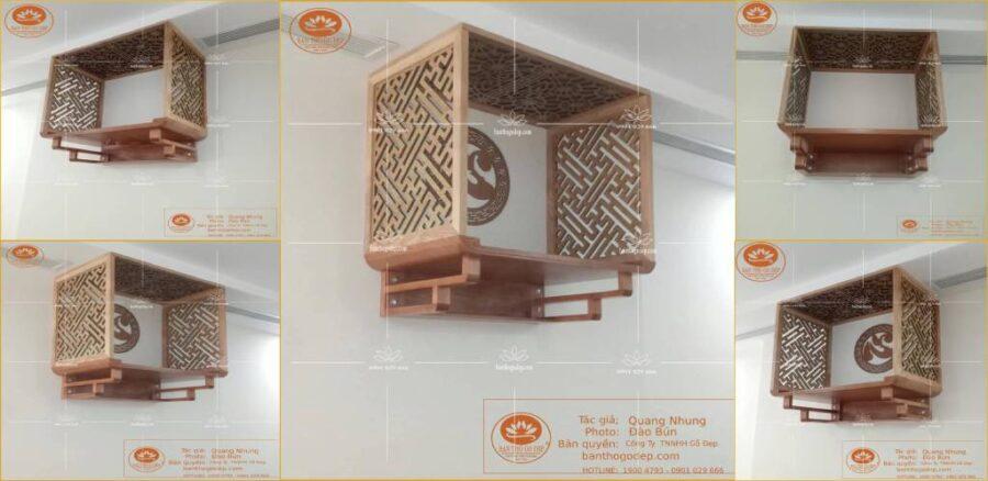 Bàn thờ gỗ sồi kết hợp với khung vách ngăn gỗ