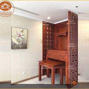 Mẫu bàn thờ tam cấp BT07 – Tủ bàn thờ gỗ hương 3 cấp giá rẻ