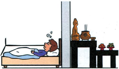 Tuyệt đối không đặt tủ thờ trong phòng ngủ.