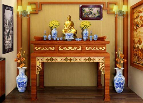 Đồ thờ đồng kết hợp các loại đồ thờ chất liệu khác đảm bảo yếu tố ngũ hành