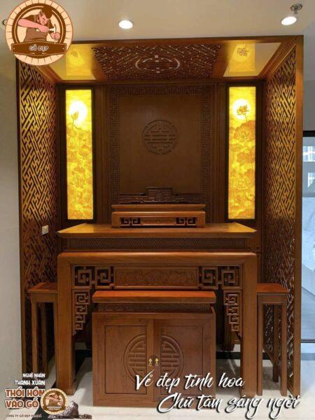 Màu sắc bàn thờ hiện đại nhà chung cư hài hòa với nội thất khác