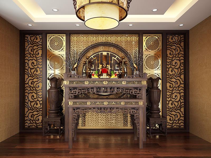Thiết kế phòng thờ nhà ống 2 tầng hợp phong thủy