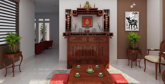 Thiết kế phòng thờ nhà ống chuẩn chỉnh tại phòng khách