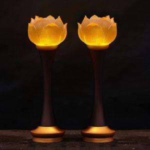 Đèn thờ hoa sen dạng lưu ly
