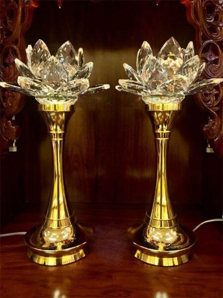 Đèn bàn thờ Phật pha lê cao cấp