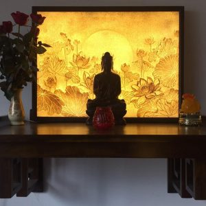 Mẫu tranh trúc chỉ hoa sen TC41- Tranh trúc chỉ phòng thờ Phật đẹp