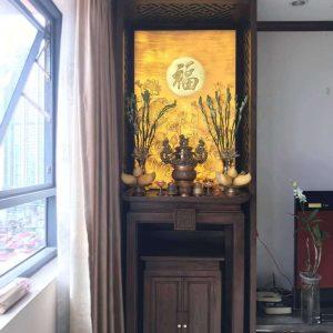 Mẫu tranh trúc chỉ hoa sen TC47 – Tranh phòng thờ tinh tế hiện đại