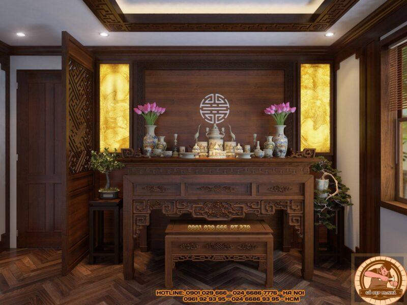 Mẫu bàn thờ gỗ gụ kết hợp với tranh trúc chỉ độc đáo