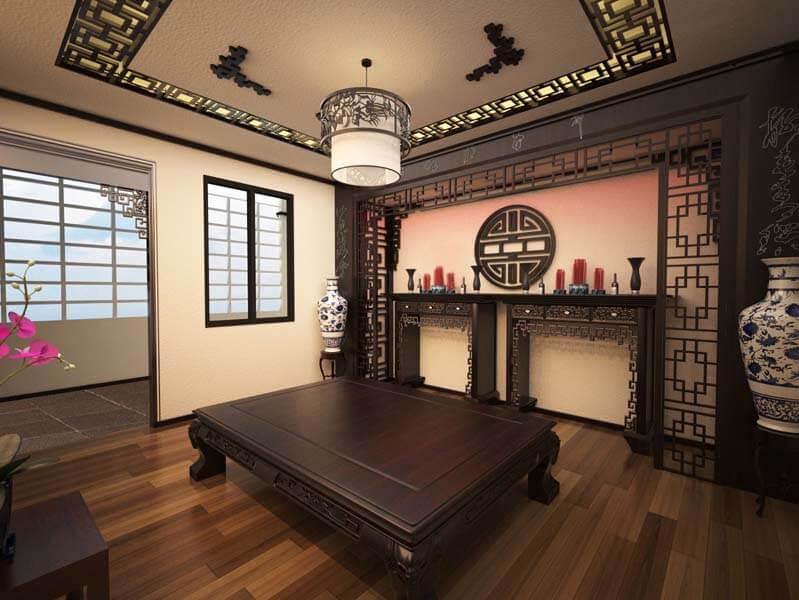 Về vị trí lắp đặt bàn thờ đối với thiết kế phòng thờ