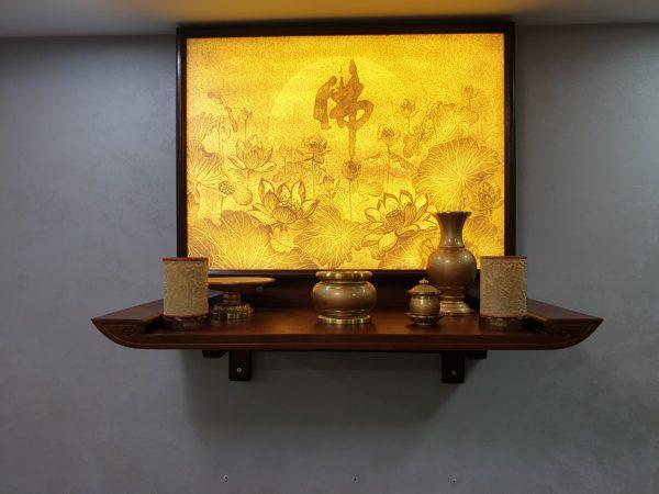 Treo bức tranh dừa Hoa Sen gia chủ sẽ cảm thấy bình yên, thu hút vận tài