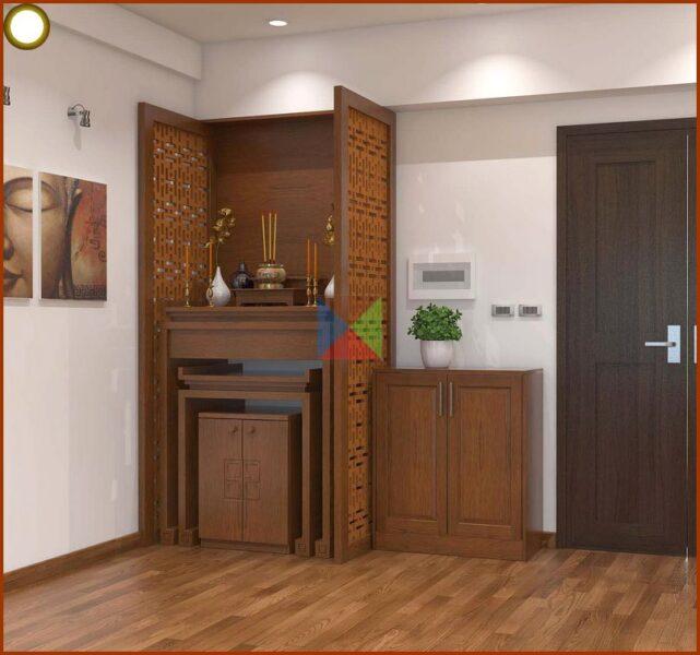 Vách ngăn phòng thờ đẹp cho không gian thờ cúng