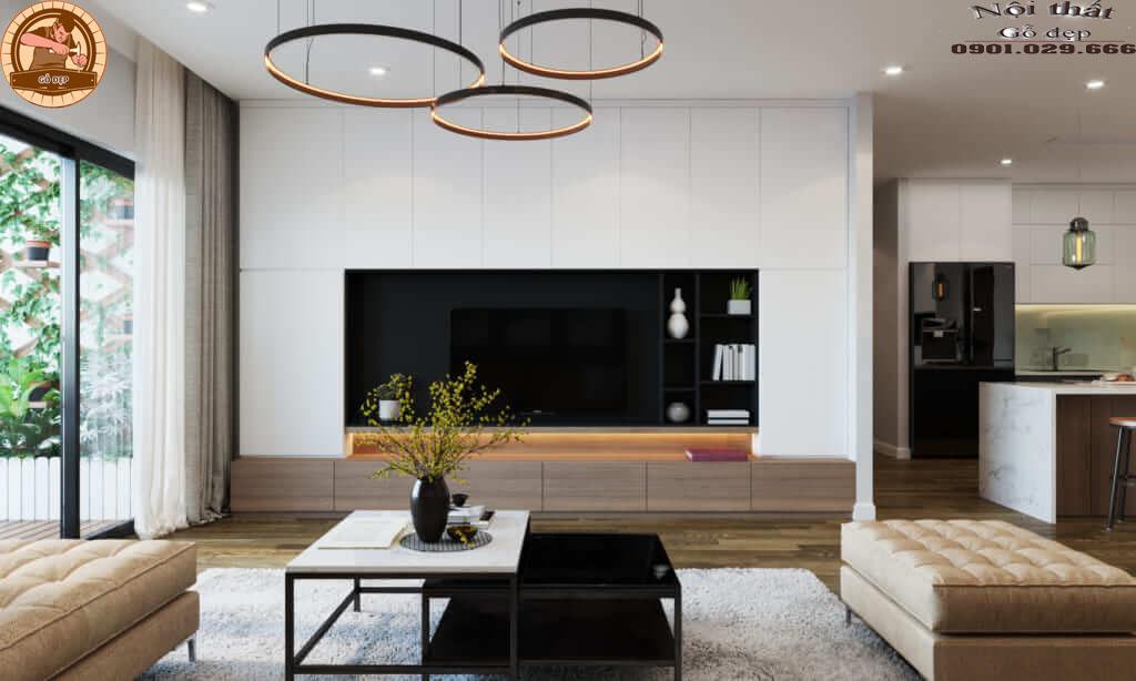 Phong cách thiết kế hiện đại thường sử dụng các nguyên liệu mới bao gồm bê tông, kính, thép