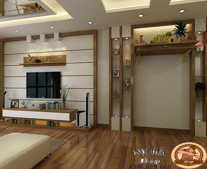 Bố trí phòng thờ kết hợp phòng khách sẽ giúp tiết kiệm diện tích không gian