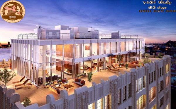 Căn hộ Penthouse còn sở hữu trần nhà cao, lò sưởi, cửa sổ rộng