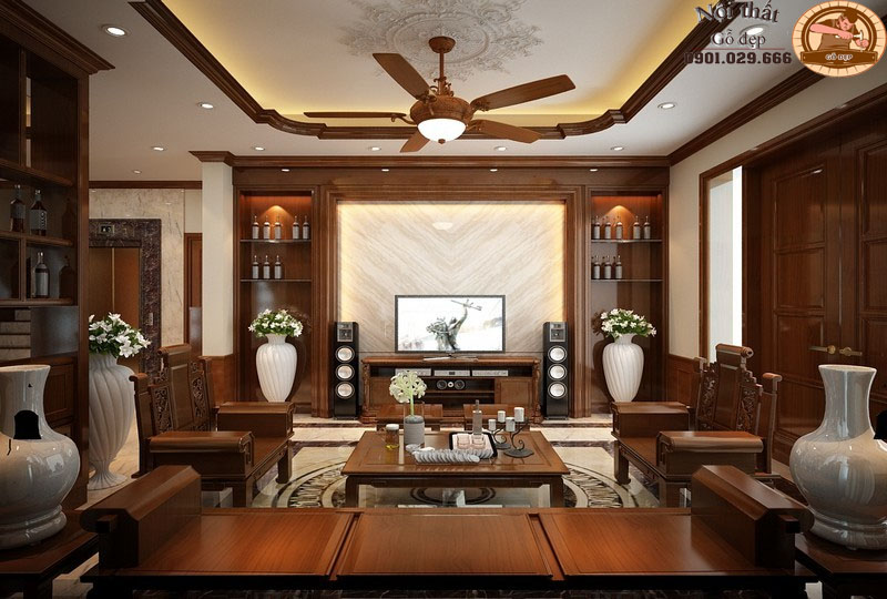 Thiết kế nội thất phòng khách bằng gỗ siêu độc đáo